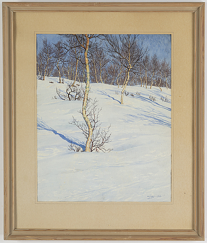 Gunnar widforss, watercolour, signed and dated 1918.