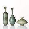 Berndt friberg, three stoneware vases, gustavsberg studio, sweden 1964, 1965 and 1974.