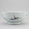 A large blue and white fish bowl/punch bowl, qing dynasty, 18th century.