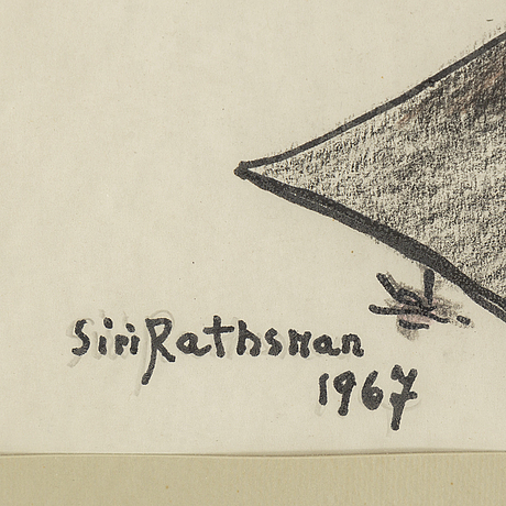 Siri rathsman, mixed media, signed and dated 1967.
