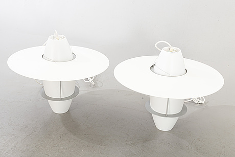 A pair of ceiling lamps.