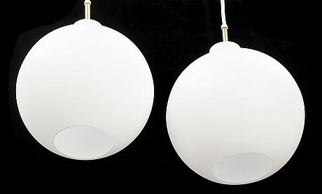 Vilhelm wohlert, a pair of 'satelit' ceiling lamps, louis poulsen, denmark.