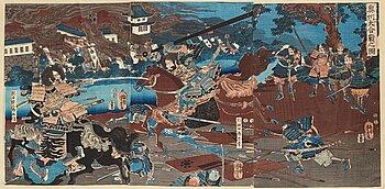 UTAGAWA YOSHITORA, two coloured woodblock prints, triptych, Japan, late 19th century.