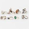 Eight silver rings, including waldemar jonsson, gk kaplan,, david andersen med emalj, else & paul.