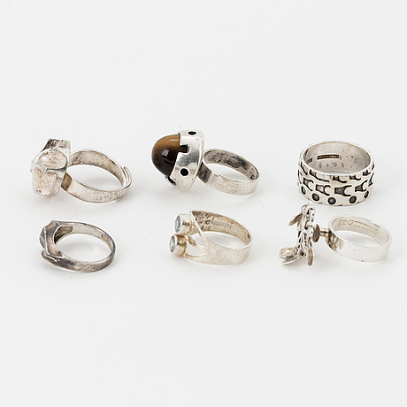 Six silver rings, finnish marks, one lapponia.