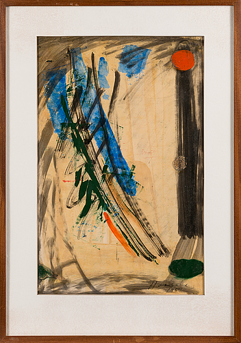 Olavi haarala, oil and mixed media on paper, signed and dated 1959.