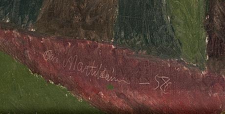 Olavi martikainen, olja på duk, signerad och daterad -58.