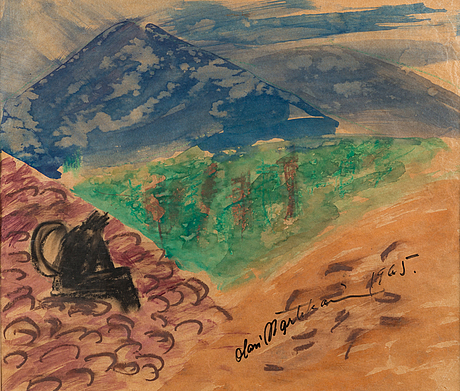 Olavi martikainen, water colour and mixed media, signed and dated 1965.
