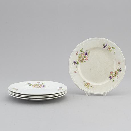 Five russian faiance dishes, kuznetsov, 1890-1917.