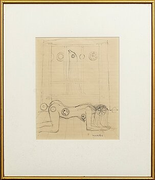 MAX WALTER SVANBERG, a signed ink drawing.