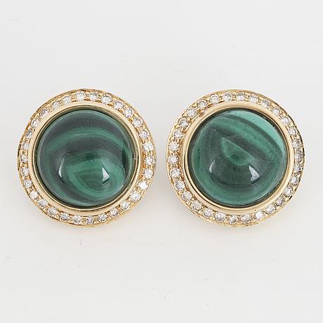Cabochon cut malachite and brilliant-cut diamond earrings.