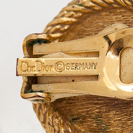 Christian dior, a gold couloured metal necklace and earrings with plastic pearls. marked chr. dior and chr. dior germany.