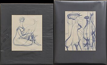 MAX WALTER SVANBERG, two signed and dated ink drawings.