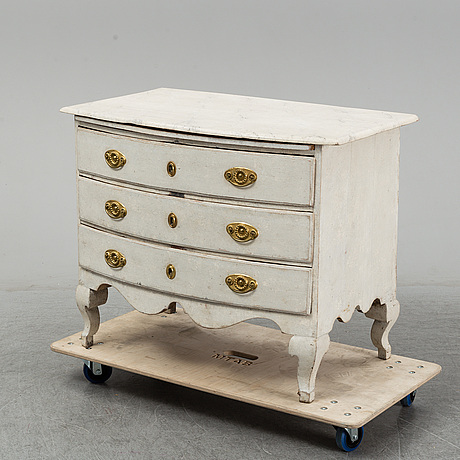 A painted late baroque chest of drawers, 18th century.