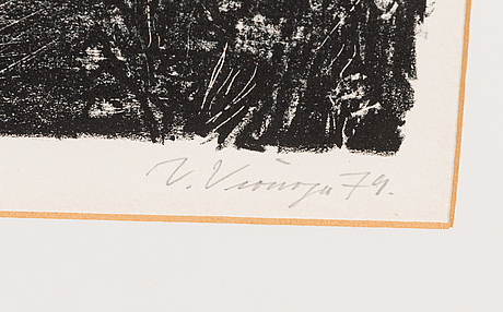 Veikko vionoja, litograph, signed and dated -79, marked taiteilijavedos.