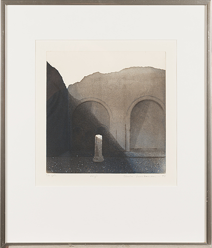 Elina luukanen, etching in colours, signed and dated -93, numbered 5/30 tpl'a.