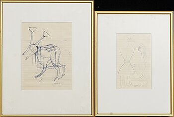 MAX WALTER SVANBERG, two signed ink drawings.