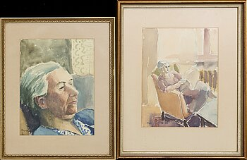 MAX WALTER SVANBERG, two signed water colours.