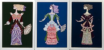 MAX WALTER SVANBERG, 3 signed and numbered hand coloured graphics.