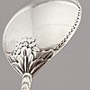 A silver table spoon and a vodka spoon, 18th/19th century.