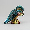 Gunnar nylund, a stoneware sculpture of a kingfisher, rörstrand, sweden mid 200th century.