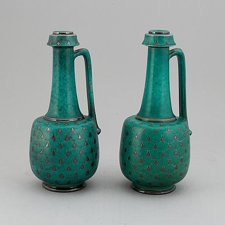 "Wilhelm kÅge, vaser med hänkel, 2 st ""argenta"", gustavsberg."