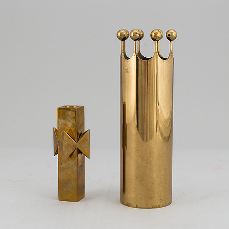 Pierre forssell, a brass vase and a candlestick, skultuna, sweden.