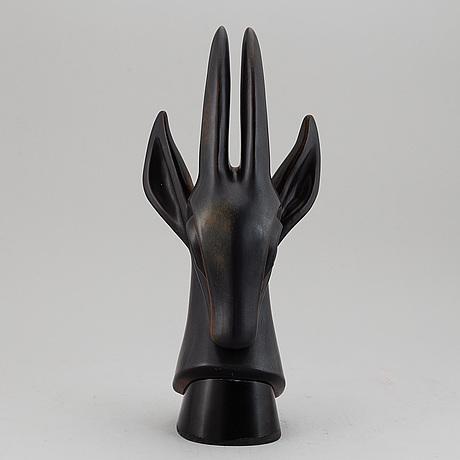 Gunnar nylund, a stoneware sculpture of a gazelle's head, rörstrand, sweden, mid 20th century, ed 83/200.