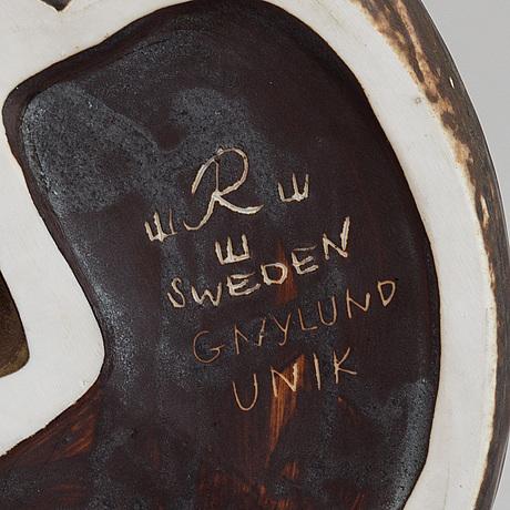 Gunnar nylund, a unique stoneware sculpture of an ermine, rörstrand, sweden mid 20th century.