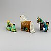 Gunnar nylund, a set of three stoneware scuptures, a horse, a camel and a donkey, rörstrand, sweden mid 20th century.