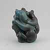 Gunnar nylund, a stoneware sculpture of a koala with child, rörstrand, sweden mid 20th century.