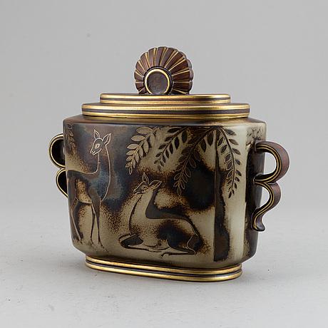 """Gunnar nylund, a """"flambé"""" ceramic urn, rörstrand 1930-40's, unique decoration."""