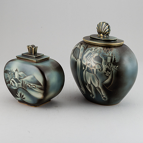 "Gunnar nylund, two ""flambé"" stoneware urns with covers, rörstrand, sweden 1930-40's."