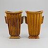 Gunnar nylund, two stoneware vases, rörstrand, sweden, mid 20th century.