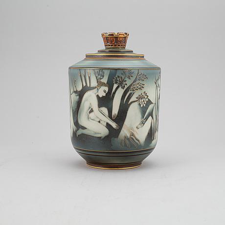 """Gunnar nylund & oskar dahl, urna med lock, stengods, """"flambé"""", rörstrand 1930-40-tal."""