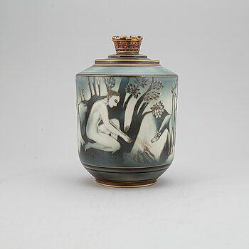 "GUNNAR NYLUND & OSKAR DAHL, a ""Flambé"" stoneware vase with cover, Rörstrand, Sweden 1930-40's."