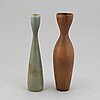 Carl-harry stÅlhane, two stoneware vases, rörstrand, sweden 1950-60's.
