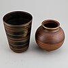 "Gunnar nylund, two stoneware vases ""flambé"", rörstrand, 1930-40's."