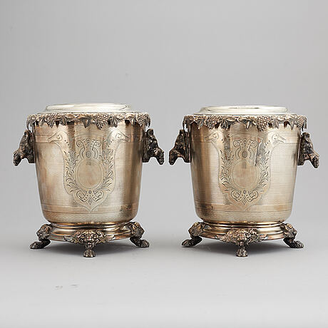 A pair of silver plate wine coolers, 20th century.