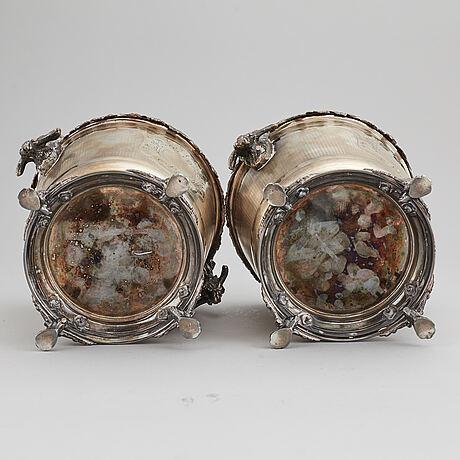 Vinkylare, ett par, nysilver. 1900-tal.