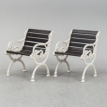 A pair of garden armchairs, Byarum.
