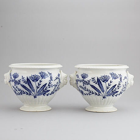 A pair of swedish flower pots, rörstrand, around 1900.