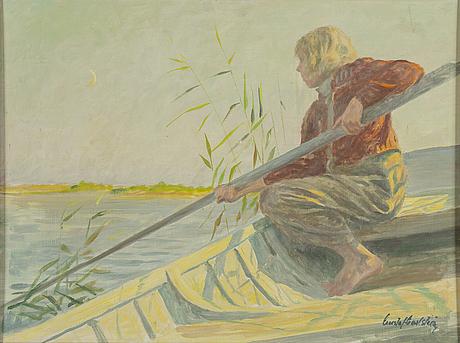 Gustaf carlstrÖm, olja på pannå, signerad.