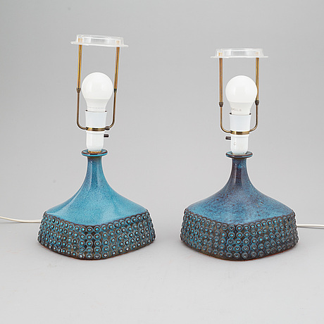 Stig lindberg, a pair of stoneware table lamps, gustavsberg studio, sweden 1965.