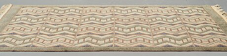 Brita grahn,a carpet, knotted pile in relief, ca 247,5 x 164-168 cm, signed brita grahn, first half of the 20th century.