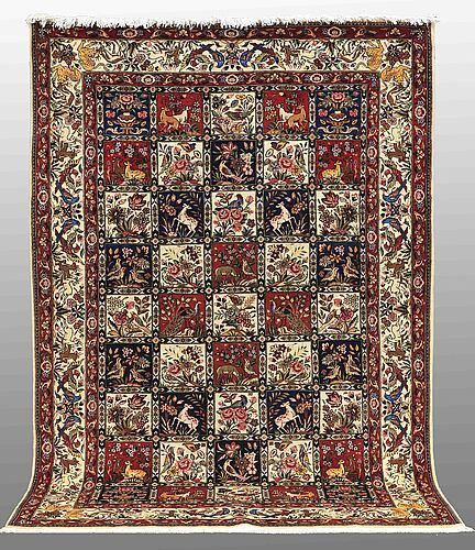 A carpet, figural baktiari, ca 306 x 210 cm.