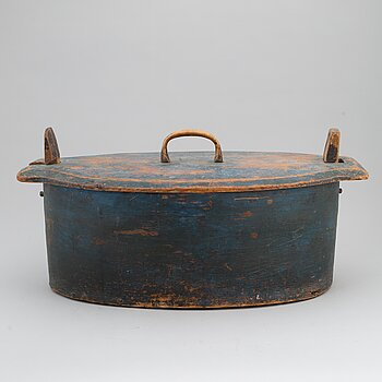 A 19th century large painted wooden box.