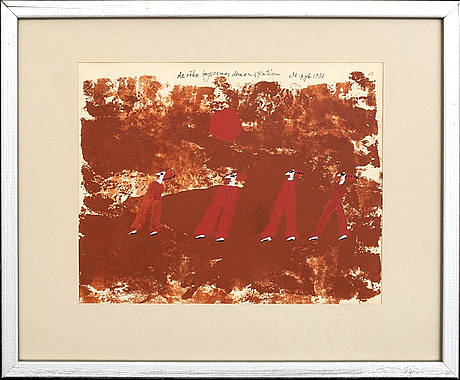 Madeleine pyk, gouache på papper, signerad och daterad 1977.