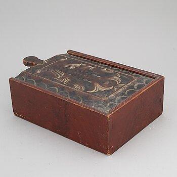 A swedish painted wooden box, Dalarna, marked 1879.
