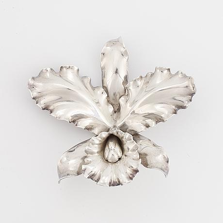 Wiwen nilsson, brosch, orkidé, silver.